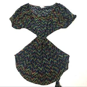 "Pixley Tunic Multicolor ""V"" Patterned Tie Waist"